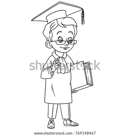 Coloring Pages For Kids Design Childrens Colouring Book Cartoon Graduating Boy In Glasses