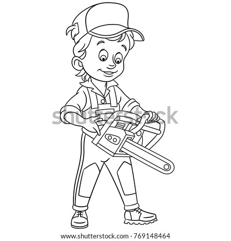 Coloring Pages For Kids Design Childrens Colouring Book Cartoon Lumberjack With Petrol Chain