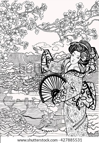 Coloring Pages Japan Stock Vector 427885531