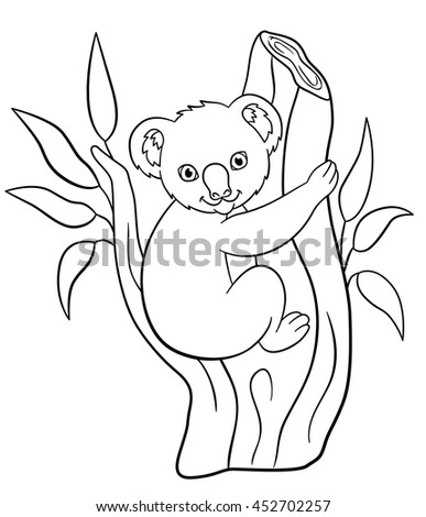 Coloring Pages Little Cute Baby Koala Sits On The Tree Branch And Smiles