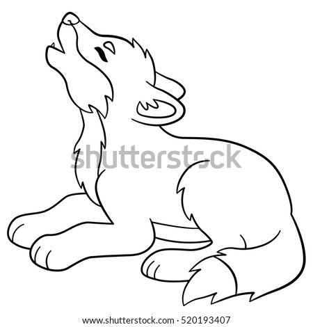 coloring pages little cute baby wolf lies and howls