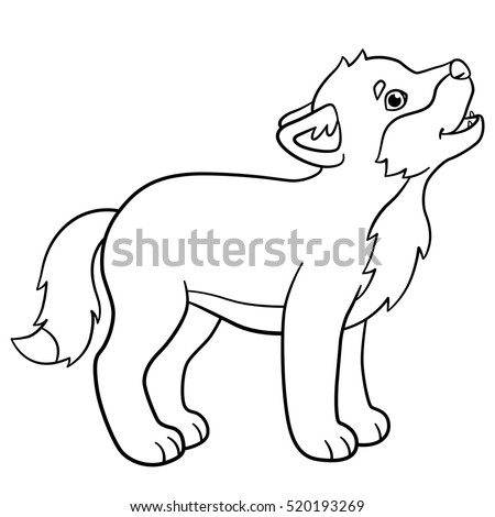 Cute wolves coloring pages