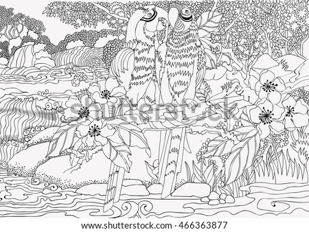 Coloring Pages Loving Parrots On A Background Of Beautiful Landscape With Waterfall