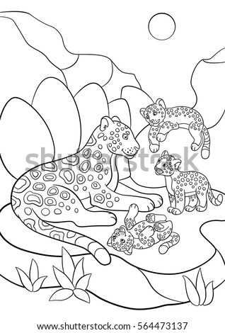 Coloring pages mother jaguar her little stock vector for Cubs coloring pages