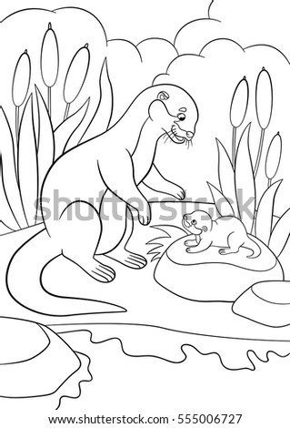 Coloring Pages Mother Otter Looks Her Stock Vector 555006727   Shutterstock