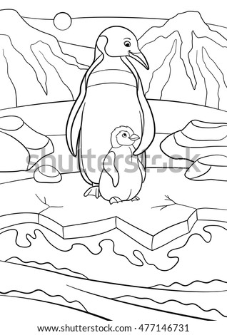 Coloring pages. Mother penguin stands with her little cute baby and smiles.