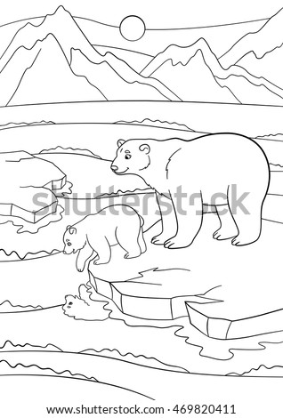 Coloring Pages Mother Polar Bear Stands Stock Vector 469820411