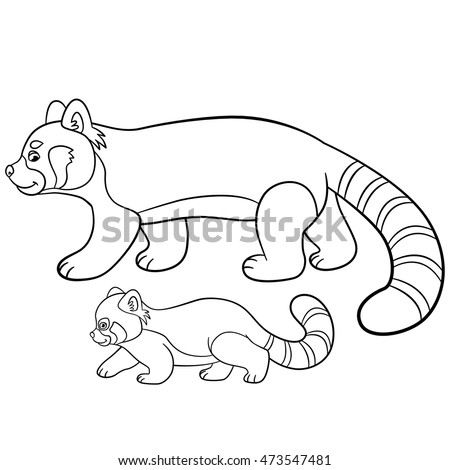 coloring pages mother red panda walks with her little cute baby and smiles