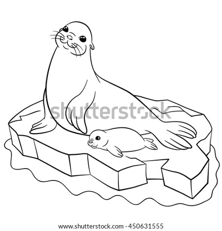 Coloring pages. Mother seal with her little cute baby on the ice floe.