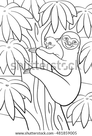 Coloring Pages Animals Little Cute Koala Stock Vector