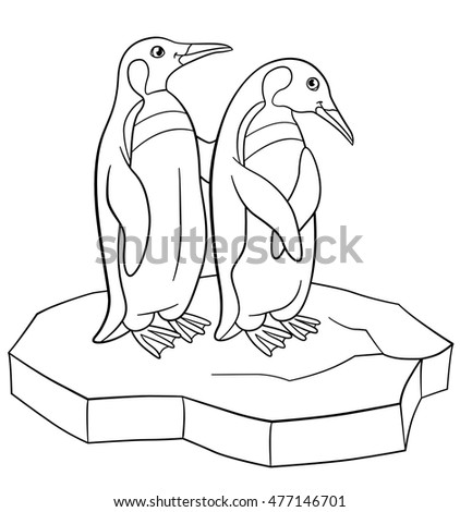Coloring Pages Two Little Cute Penguins Stand On The Ice Floe And Smile