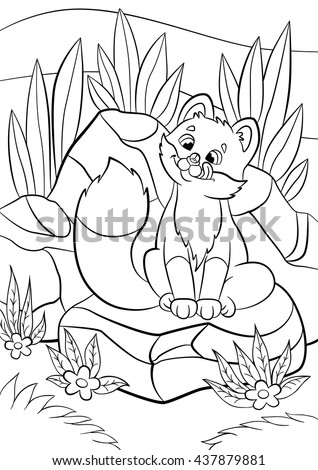 Coloring pages. Wild animals. Little cute baby fox looks at the fly in his nose and smiles. There are stones and grass around. - stock vector