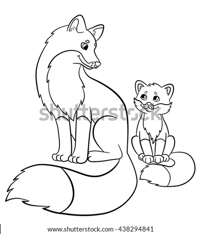 coloring pages wild animals mother fox with her little cute baby fox smile