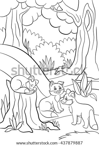 Coloring Pages Wild Animals Three Little Stock Vector 437879887