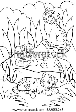 coloring pages wild animals three little cute baby tigers in the forest - Baby Forest Animals Coloring Pages