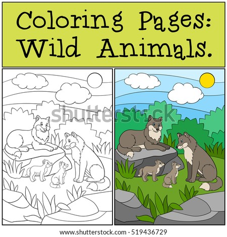 Coloring Pages Wild Animals Wolf Family In The Forest They Are Smiling