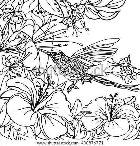 89 Tropical Flower Coloring Book