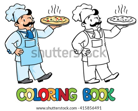 Coloring picture or coloring book of funny cook or chef or baker. Children vector illustration. Profession ABC series. - stock vector