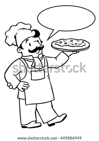 Coloring picture or coloring book of funny cook or chef or baker. Profession series. Children vector illustration. With balloon for text. - stock vector
