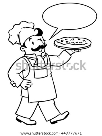 Coloring picture or coloring book of funny cook or chef or baker with pizza. Profession series. Children vector illustration. With balloon for text. - stock vector