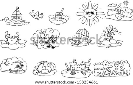 Coloring summer elements for children
