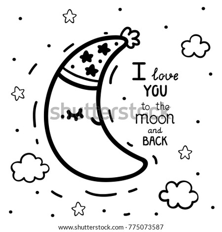 Coloring Cute Waning Crescent Moon Text Stock Vector Hd Royalty