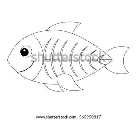 Colorless cartoon x ray fish coloring page for preschool children