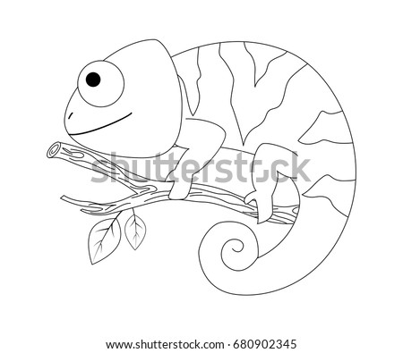 colorless funny cartoon chameleon vector illustration coloring page preschool education