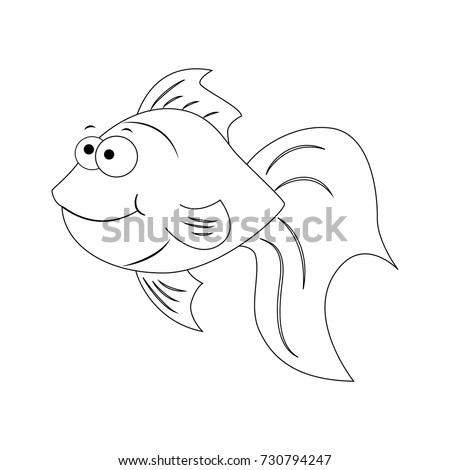 Colorless Funny Cartoon Goldfish Vector Illustration Stock Vector