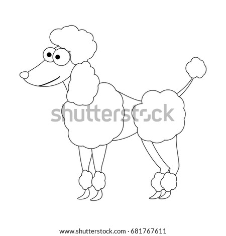 Colorless Funny Cartoon Poodle Dog Vector Illustration Coloring Page Preschool Education