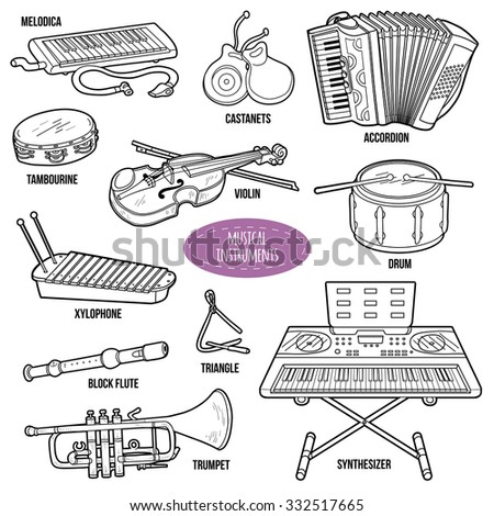 Colorless set with musical instruments, vector cartoon collection - stock vector