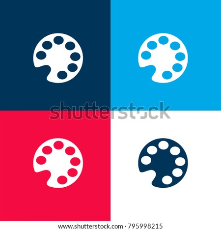 Colors Palette Four Color Material And Minimal Icon Logo Set In Red Blue