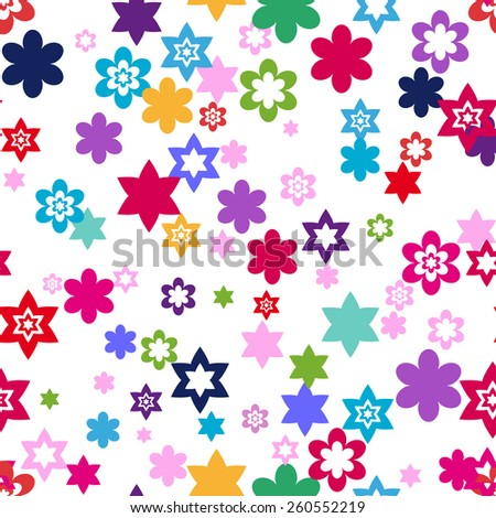 colors seamless floral pattern not clipping mask - stock vector