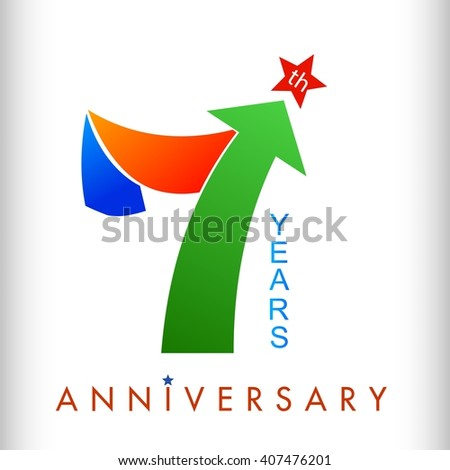 Colors template 7th anniversary years with arrow up and star