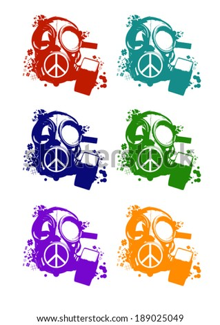 colors vector protest gas mask set isolated on the white background - stock vector