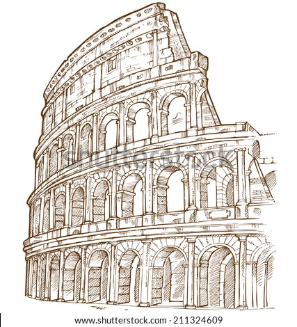colosseum hand draw isolated on white background  - stock vector