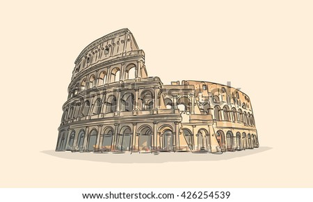 Colosseum hand drawn vector illustration. Coliseum in Rome, Italy. One of the most famous historical and tourist landmarks in the world.