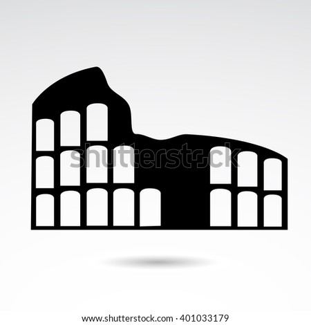 Colosseum icon on white background. Vector art. - stock vector