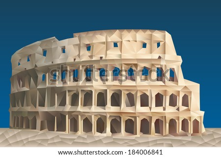 Colosseum illustration in triangular pattern style - stock vector