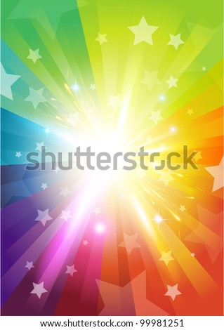 Colour Burst Background - with stars and transparencies - stock vector