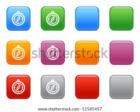 Colour buttons with compass icon - stock vector