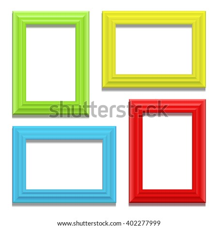 Colour classic frame set on the wall. Vector Illustration