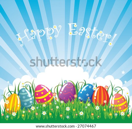 Colour easter vector banner. eggs in grass - stock vector