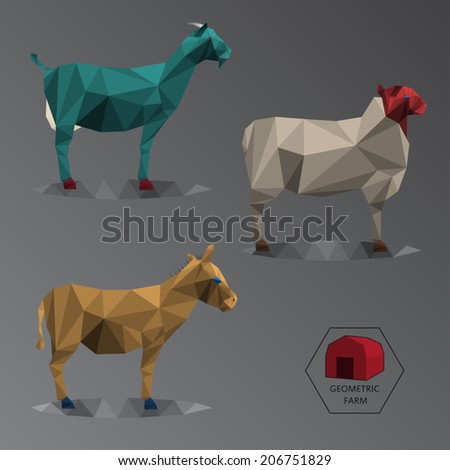 Colour full illustration of geometric farm animals made of triangle polygons, easy changing colour, set of medium animals like goat, donkey and sheep - EPS - stock vector