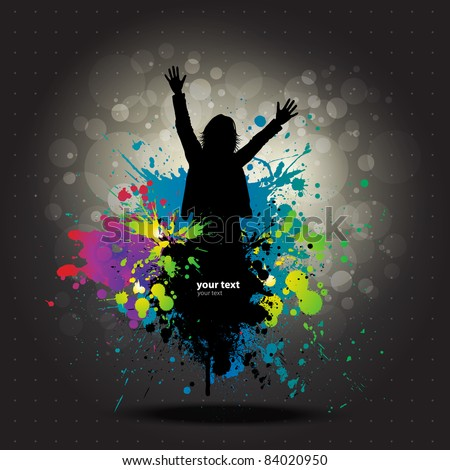 Colour grunge poster with man dancer - stock vector