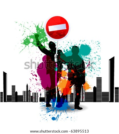 Colour grunge poster with road sign stop - stock vector