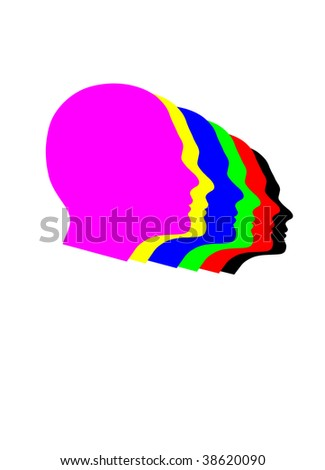 colour heads - stock vector