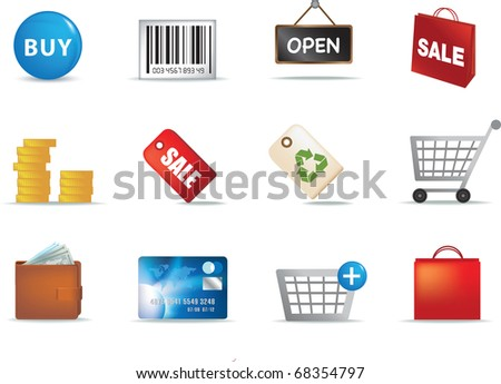 colour illustration of a set of modern retail shopping icons - stock vector