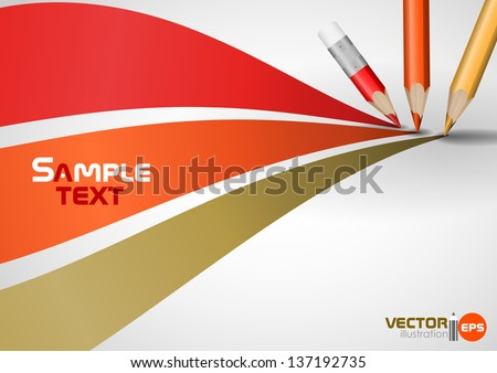 Colour pencils drawing lines. Vector illustration. Eps 10. - stock vector