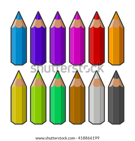 Colour pencils isolated on white background. Vector - stock vector